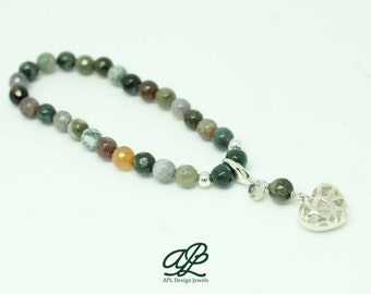 Indian agate bracelet with silver heart pendant, Kokoro collection
