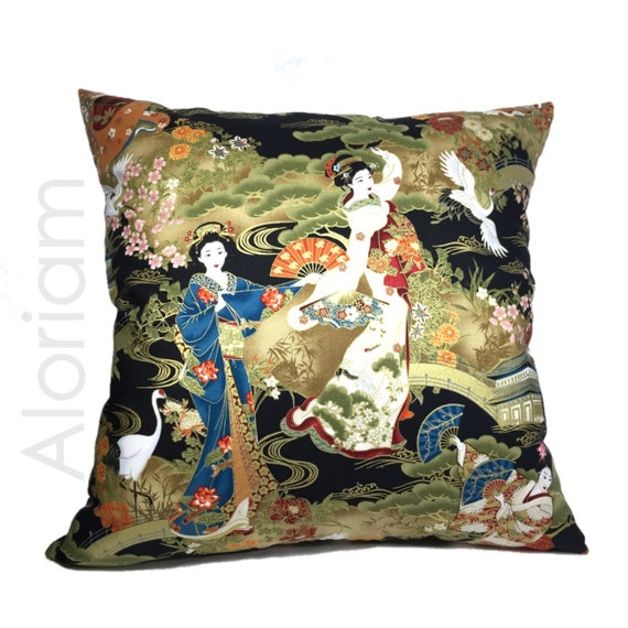 Asian Oriental Japanese Geisha Cranes Art Decorative Throw