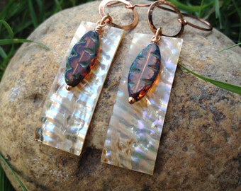 Abalone and czech beaded earrings