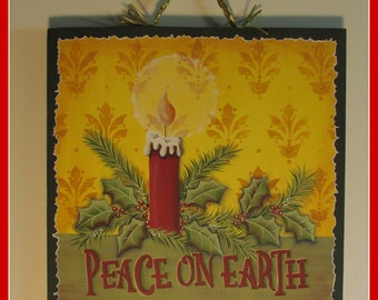 Hand Painted Wooden Peace on Earth Plaque