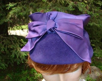 1950s  Purple Velour Hat with Ribbon and Bows