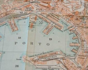 1927 Genoa Italy Antique Map
