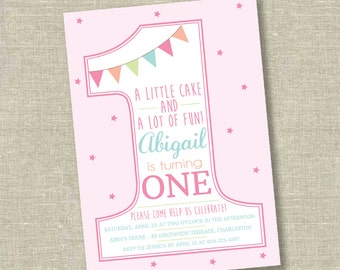 Girl First Birthday Invitation, Number 1 invitation, number one invitation, baby girl invitation, simple first birthday invitation