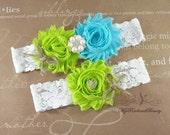 Wedding Garter, Garter, Bridal Garter, Burlap Garter, Rustic Garter, Handmade Green and Blue Shabby Garter, Garter Belt, Garter Set GTF0041