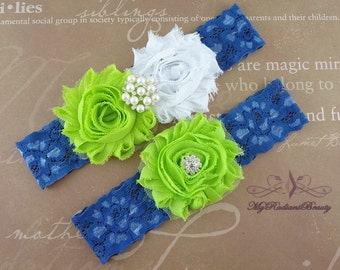 Wedding Garter, Garter, Bridal Garter, Lime Green and White Shabby Rosettes Chic Garter Set, Garter Belt, Wedding Handmade Garter GTF0049