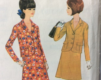 McCall's 8602 vintage 1960's juniors jacket and skirt suit sewing pattern size 12 bust 32 waist 25 hip 34