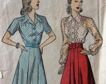DuBarry 5331 vintage 1940's misses shirtwaist dress sewing pattern size 16 bust 34