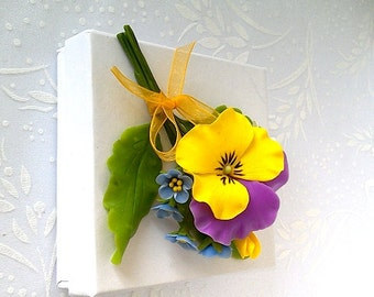 "Brooch ""Summer mix"" - Clay flower brooch - Summer jewelry - Pansy brooch - Yellow flower brooch"