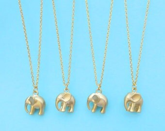 Set of 2-5, Puffy, Elephant, Gold, Silver, Necklace, Cute, Elephant, Jewelry, Animal, Gift. Jewelry, Lovely, Gift, Necklace, For, Her