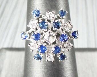 Vintage Sapphire Diamond Ring Genuine Sapphire Ring 14k White Gold Natural Blue Sapphire Ring Diamond Ring September Birthstone Dinner Ring