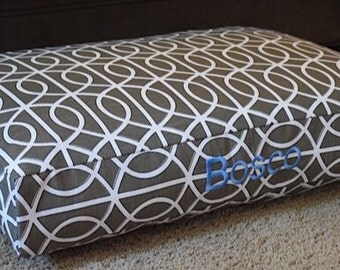 Miles Dog Bed * Small *  Personalize  Pets Name * Periwinkle Collection * Geometric * Brown * Robert Allen Fabric * Custom Pillow Cover