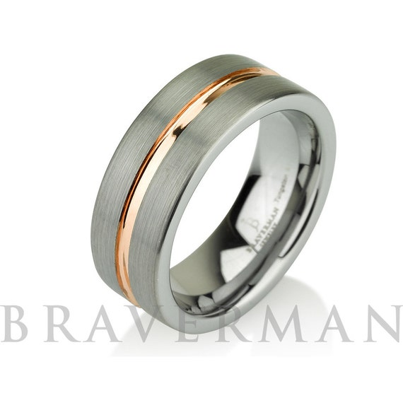 Rose Gold Wedding Band Ring Tungsten Carbide 8mm 14K Tungsten Brushed Ring Man Wedding Band Male Women Comfort Fit Anniversary