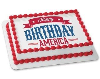 """CELEBRATE AMERICA """"Happy Birthday"""" Edible Image"""