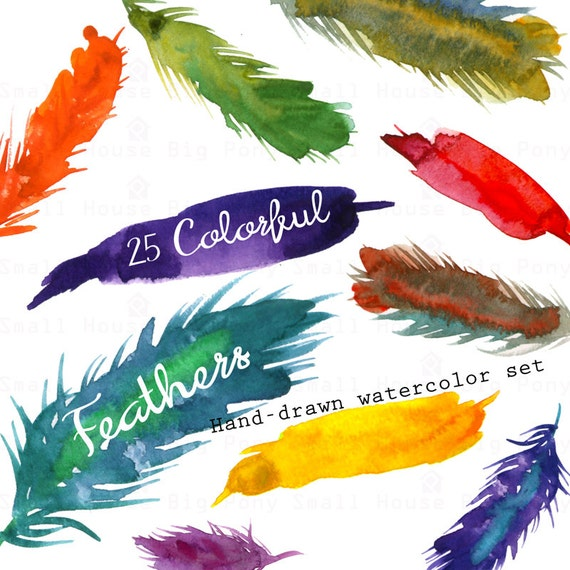 High Resolution Watercolor Clipart Feather Clipart Watercolor Feather Clip Art- JPG and PNG clip art