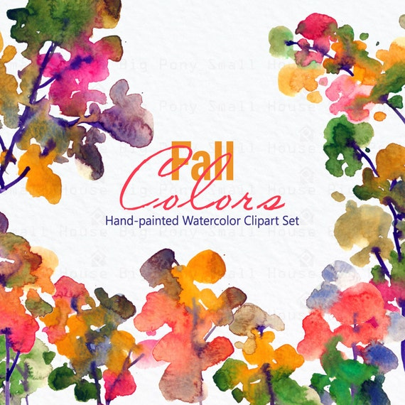 Fall Foliage Clipart, Hand painted watercolor, watercolour clipart, diy elements, trees, fall foliage - Fall Colors