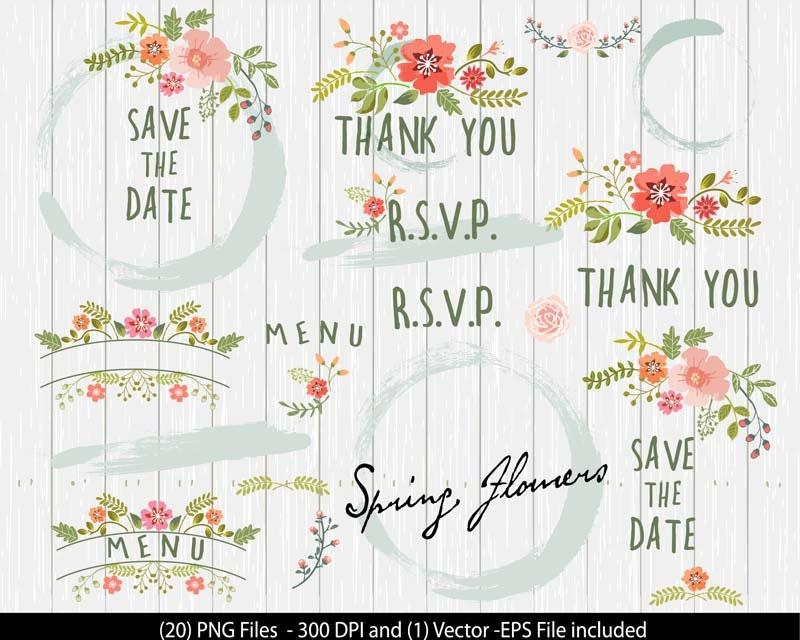 Floral Wedding Clipart Flower Digital