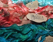 Hand Dyed Ribbon, Crinkled Seam Binding SAMPLE