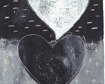 "black white hearts black white print hearts monoprint two hearts print original print original art wall art ""binary"""