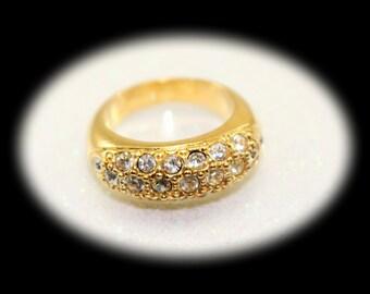 Vintage Ring Avon Rhinestone Ring Crystal Ring Gold Ring Vintage Jewelry