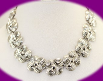 Statement Necklace / Chocker Vintage Silver Tone Swirls Chocker /Necklace Chunky Necklace