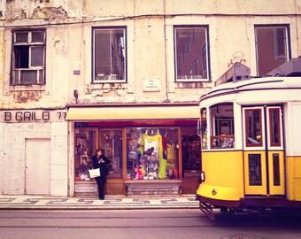 Portugal Photograph, Lisbon Street, Large Wall Art, Yellow Streetcar, Travel Fine Art Print Series