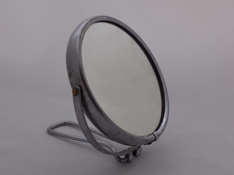 Miroir barbier rond double face avec poign e m tal chr m for Miroir double face