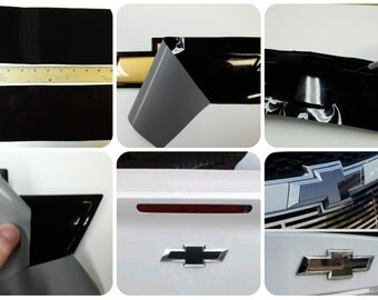 Auto Wrap Vinyl Sheets -2- U-cut Decal overlays for Chevy Bowtie Emblems Grill & Rear - Gloss Black