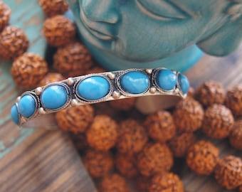 Boho Cuff, Bohemian Cuff, Turquoise Cuff, Tibetan Cuff, Nepalese Jewelry,
