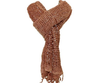 Organic Cotton Scarf Scarves For Women and Men Scarfs Natural Dyed Red Brown Colour