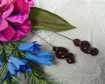 Vintage Plum Purple Glass Hat Pins Swirl Jewels Stick Pins for Hats Crafts Corsage Set of Two
