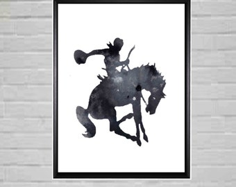 Rodeo Art Black and White Cowboy Printable Horse Art Rodeo Rider Cowboy Printable Cowboy art Rearing Horse Rodeo Poster Rodeo Printable