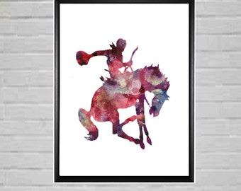 Rodeo Rider Rodeo Art Colorful Rodeo Rider Watercolor Cowboy Rodeo Printable Rodeo Printable Cowboy art Rearing Horse Rodeo Poster