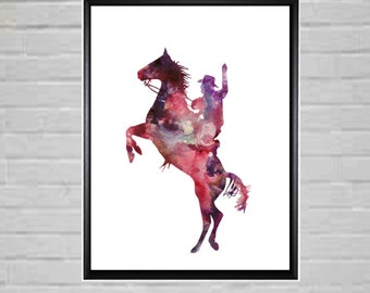 Rodeo Rider Rodeo Art Colorful Watercolor Cowboy Printable Rodeo Printable Cowboy art Rearing Horse Rodeo Poster Rodeo Room Decor Wall Art