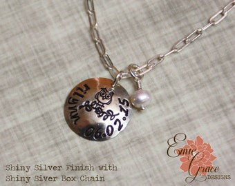 Name Necklace, Personalized Jewelry, Sterling Silver & Birthstone, Hand Stamped, Owl Necklace