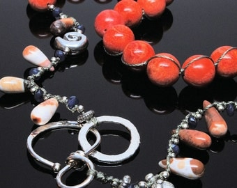 Hand Knotted Coral Necklace with Fine Silver Clasp