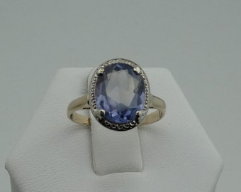 Lovely Vintage Created Alexandrite 10K White and Yellow Gold Ring