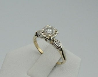 Dazzling 1950's Vintage .55 Carat Diamond Engagement Ring in 14K Yellow and White Gold #YW55DE7-GR2
