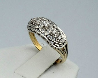 Stunning 1930's Vintage Filigree Two-Tone 14K Gold and Diamond Ring #1930DMD-GR4