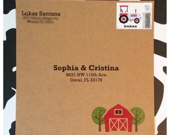 Kraft Square Envelopes / Farm Barnyard Cowboy Cowgirl Envelopes / Personalization is optional