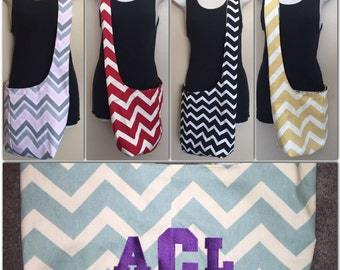 CHOOSE and PERSONALIZE your Reversible CHEVRON crossbody bag