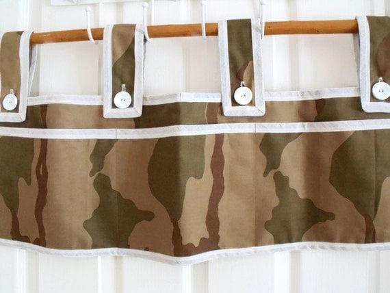 "bunk bed caddy, rail organizer, camping caddy, camo bunk bed pockets, camouflague fabric, 29"" w x 10""d"