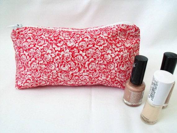 make up purse, cosmetic bag, make up pouch, zipped pouch, coin purse, red rose fabric