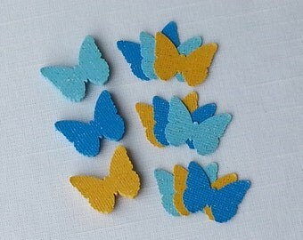 Cinderella Butterfly Confetti Light Blue, Turquoise & Gold Glitter 60 Pieces, Fairy Birthday Party, Baby Girl, Bridal Shower, Table Decor