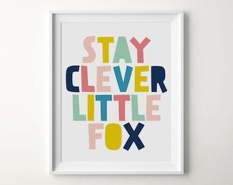 Stay Clever Little Fox, Nursery Room, Nursery Fox Decor, Baby Shower Home Decor, Woodland Nursery, Printable Nursery, Fox Print Nursery