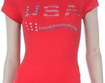 4th of July's USA Flag Rhinestone Shirt