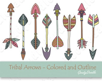 Tribal Arrows - Colored and Outline