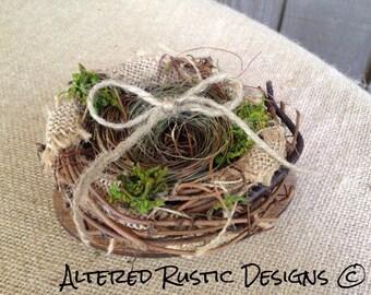 Ring bearer pillow alternative/ wedding cake topper/ birds nest ring holder/ wedding ring holder/ rustic wedding/ woodland wedding/ weddings