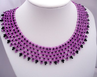 fuchsia color hungarian jewelry set, pink-black beadwork necklace, pink statement necklace, pink-black choker, fuchsia-black choker