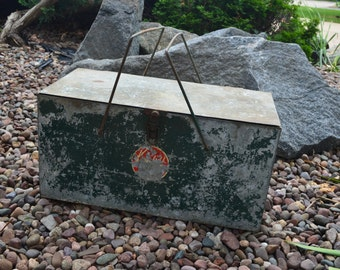 Vintage Metal Picnic Basket-Style Auto Cooler Ice Chest