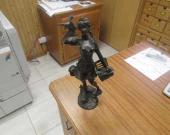 "Bronze  Sculpture  Statue   ""Lady With Bird"""